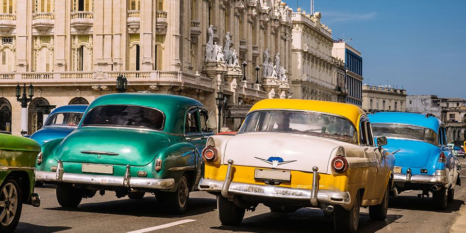 The colourful past is very much present on Havana's streets.