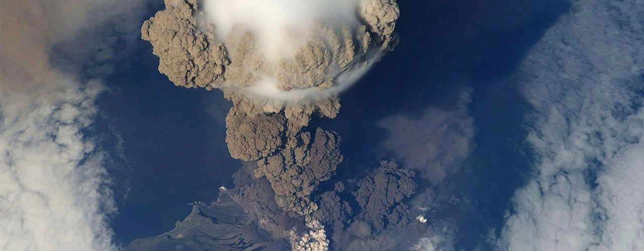 Aerial view of a volcanic eruption
