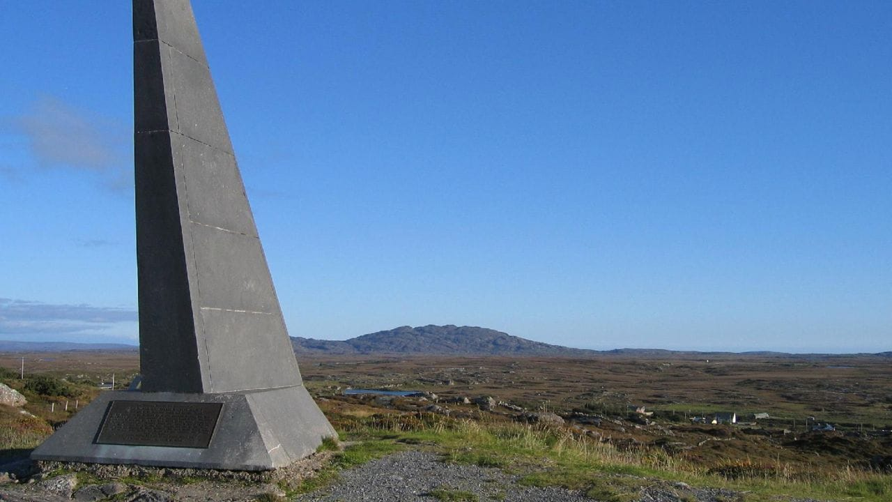 A memorial near Clifden dedicated to the pioneering transatlantic flight of Alcock and Brown.