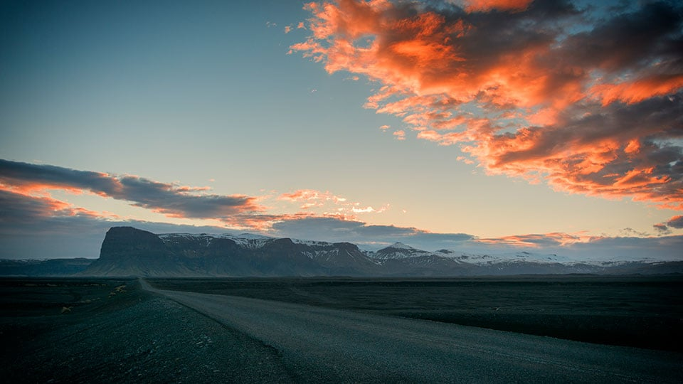 An Iceland sunset on Route 1 or the Ring Road surrounding the island.